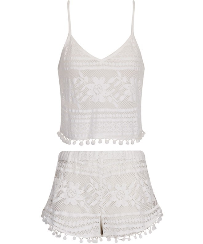 Boutique White Crochet Two Set