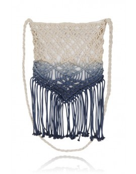 Boutique Ombre Cream & Cobalt Macrame Crochet Fringe Bag