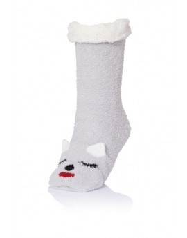 Silver 3D knitted animal lounge socks