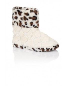 Cream & Leopard Diamond Fur Slipper Boots