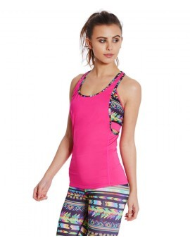 Pink Low Cut Racer Back Contrast Trim Fitness Vest