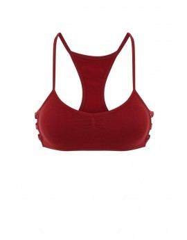 Eclipse Fitness Burgundy Side Strap Cropped Top