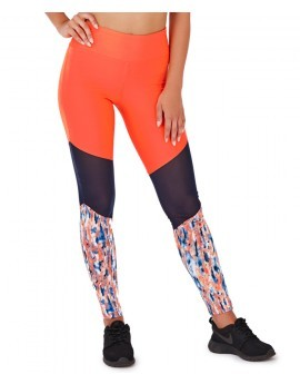 Lucie Coral Splash Print  & Mesh Panel Fitness Leggings