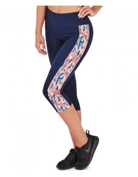 Marcy Navy & Coral Splash Print Panel Fitness Capri Leggings