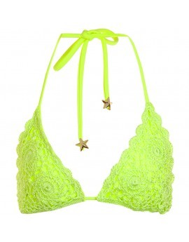 Polly Crochet Triangle Bikini Top- Lime