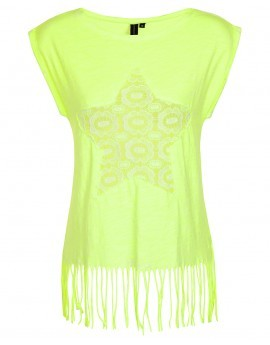 Tabitha Neon Crochet Star Fringed Top