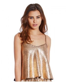 Riley Gold Foil Swing Camisole Crop Top