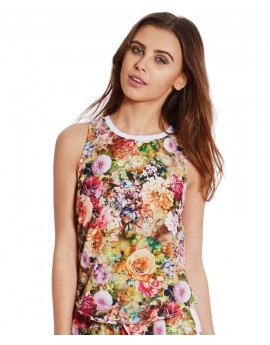 Sienna Sensory Floral Split Back Top