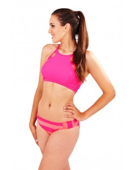 Boutique Magenta Stripe Sporty Crop Top & Brief Set