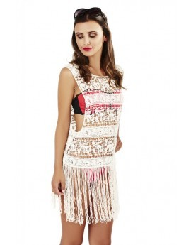Boutique Cream Swirl Crochet Fringed Top