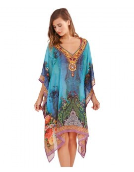 Dark Blue Printed Embellished Kaftan