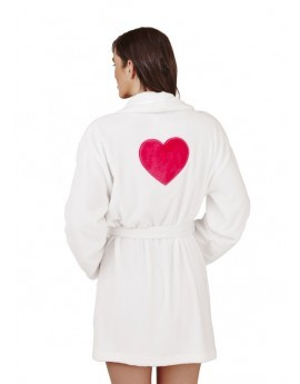 White Luxury Fleece Heart Robe