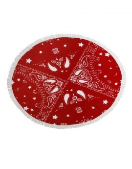 Red & White Bandanna Print Round Towel