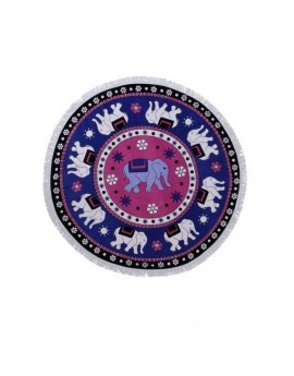 Blue & Pink Elephant Print Round Beach Towel