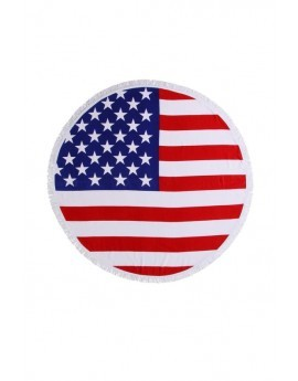 American Flag Printed Round Beach Towel
