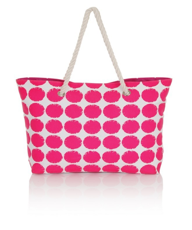 Neon Pink Polka Dot Canvas Beach Bag