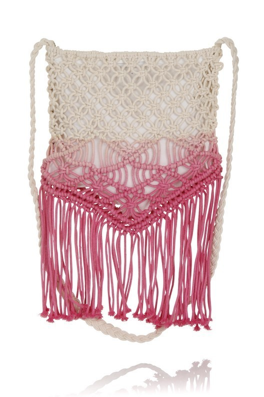 Boutique Ombre Cream & Pink Macrame Crochet Fringe Bag