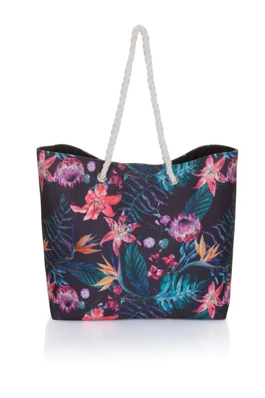 Black Tropical Print Canvas Beach Bag