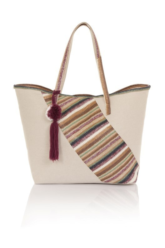 Plum Chevron Patch Pom Pom Tote Bag