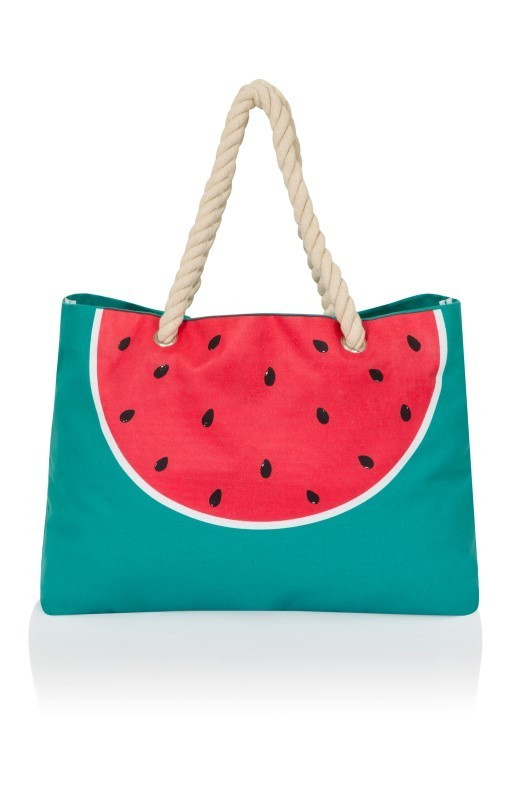 Watermelon Print Canvas Beach Bag