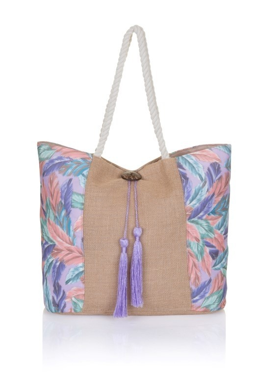 Multi coloured Feather Print Jute Tote Bag