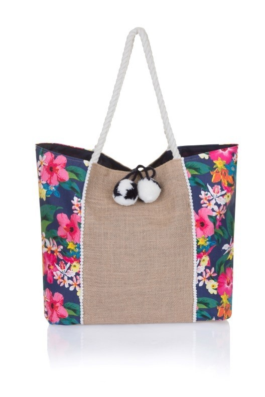 Navy & Multicoloured Floral Tote Bag
