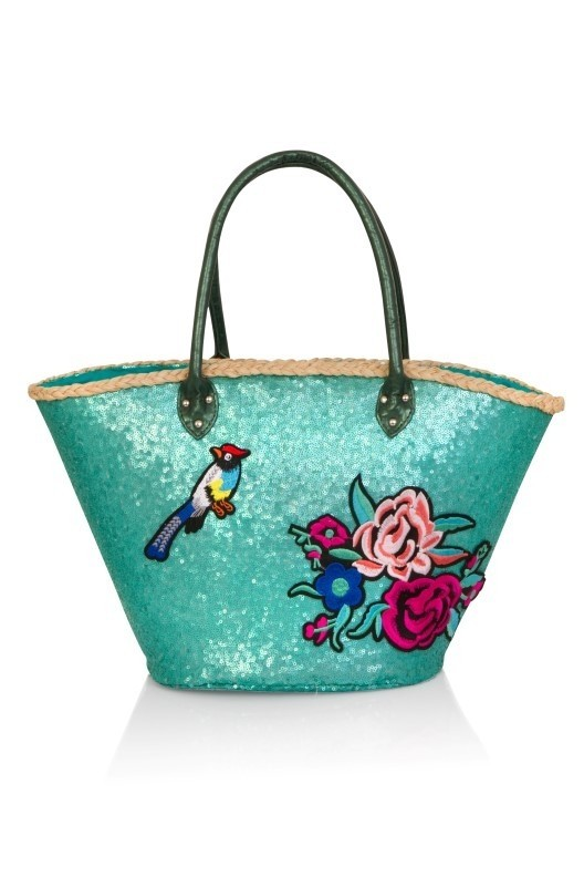Turquoise Sequinned Embroidered Basket Bag
