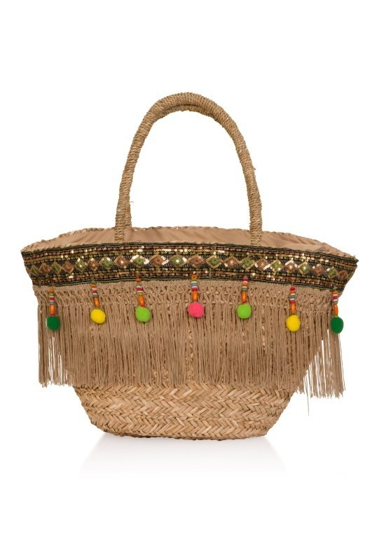 Multi-Coloured Pom Pom Trim Basket Bag
