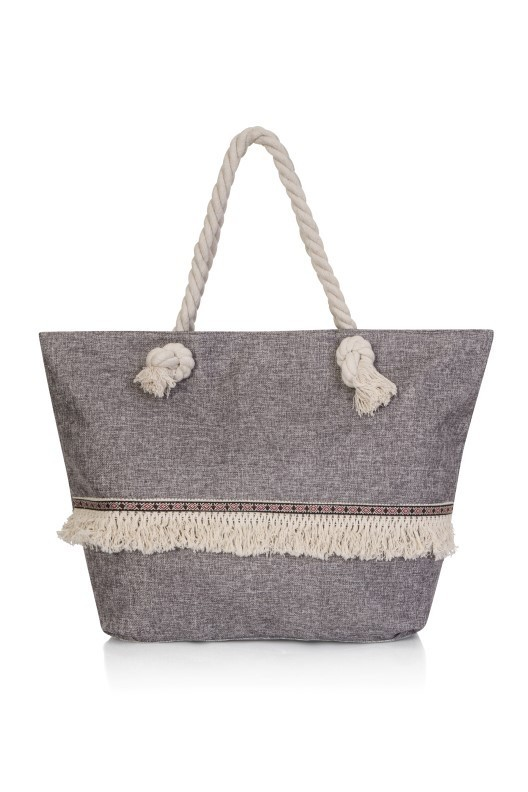 Grey Fringed Tote Beach Bag