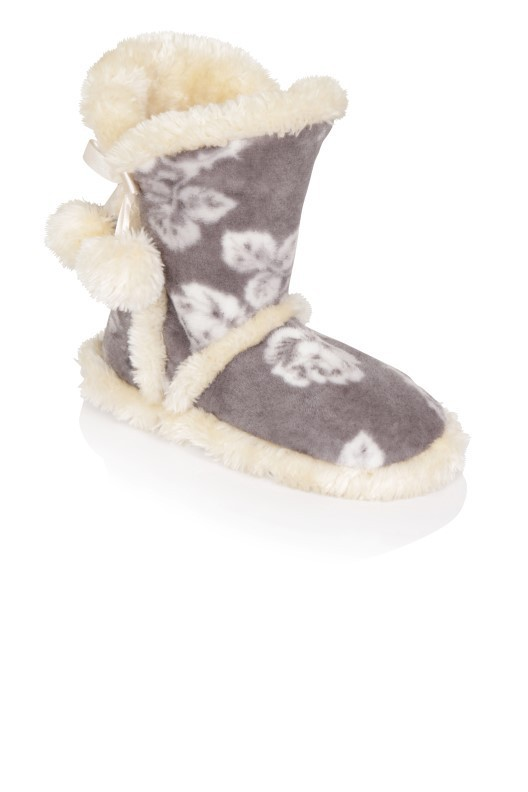 Grey Rose Print Sherpa Pom-Pom Slipper Boots