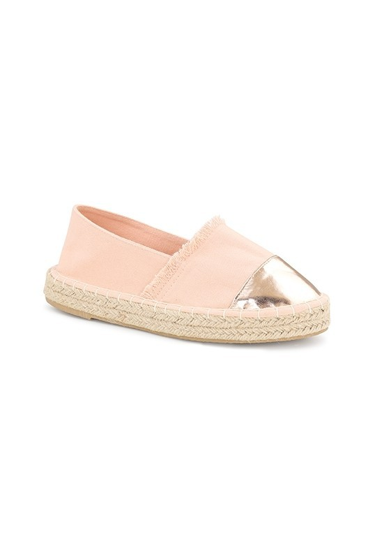 Blush Canvas Espadrille With Rose Gold Cap