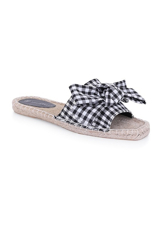 Gingham Bow Front Squared Toe Espadrille