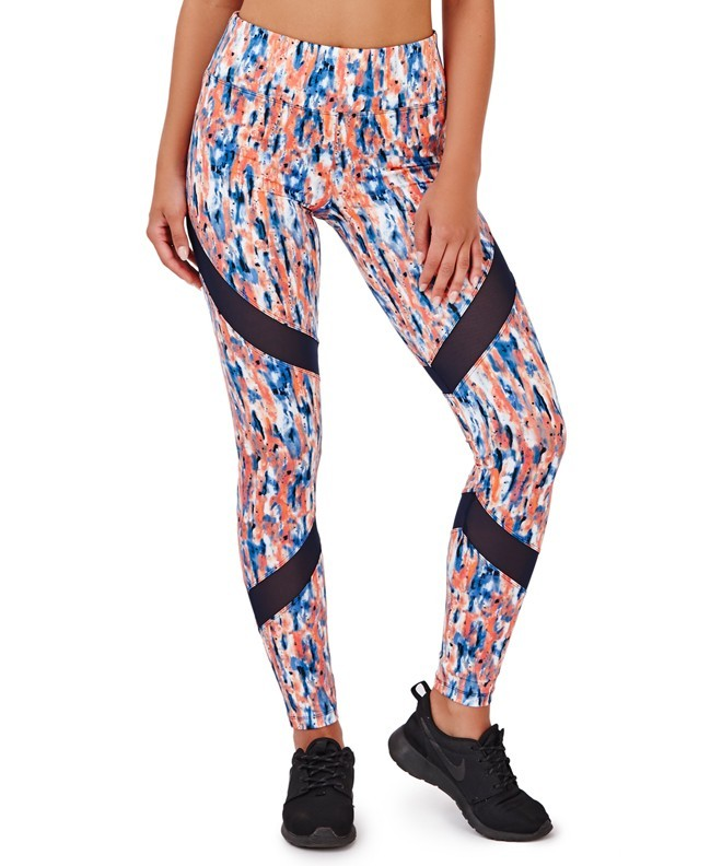 Vianti Navy & Coral Splash Print Mesh Insert Fitness Leggings