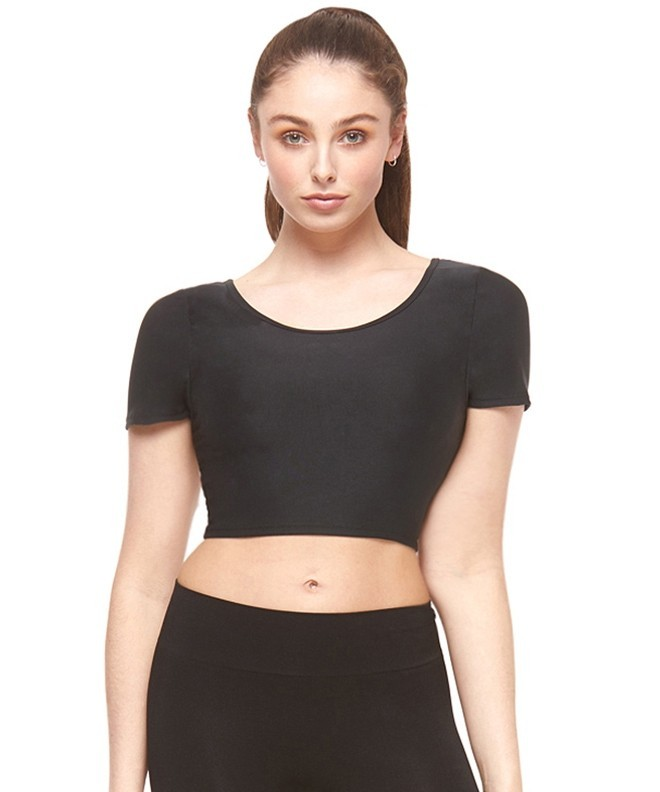 Black Cross Back Fitness Cropped T-Shirt