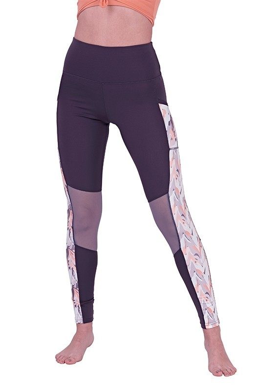Marble Print Panel High Waisted Leggings