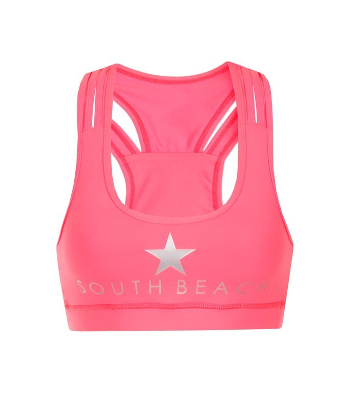 Jess Neon Coral Cropped Sports Top
