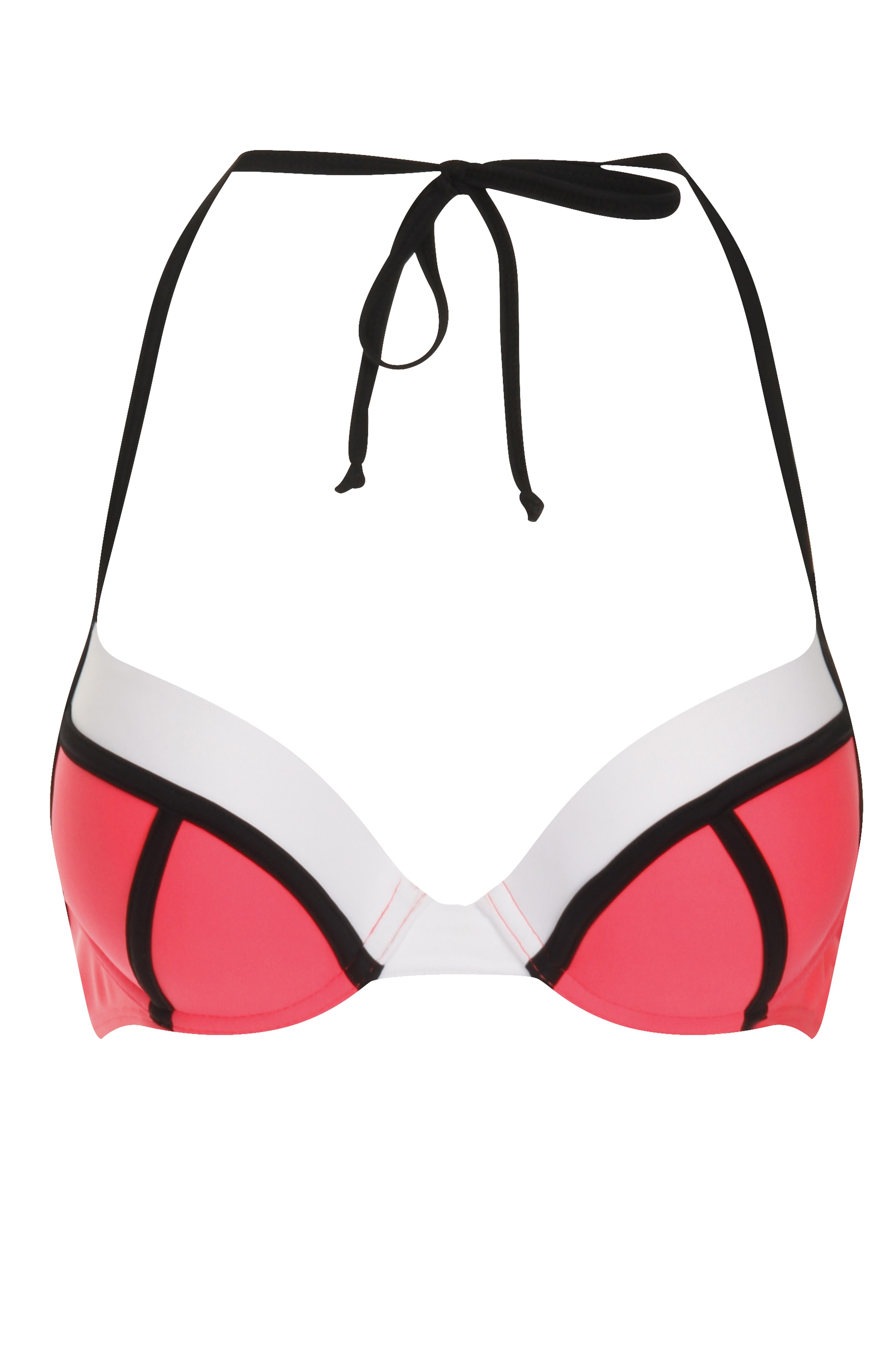 Brianne Neon Red & White Structured Bikini Top