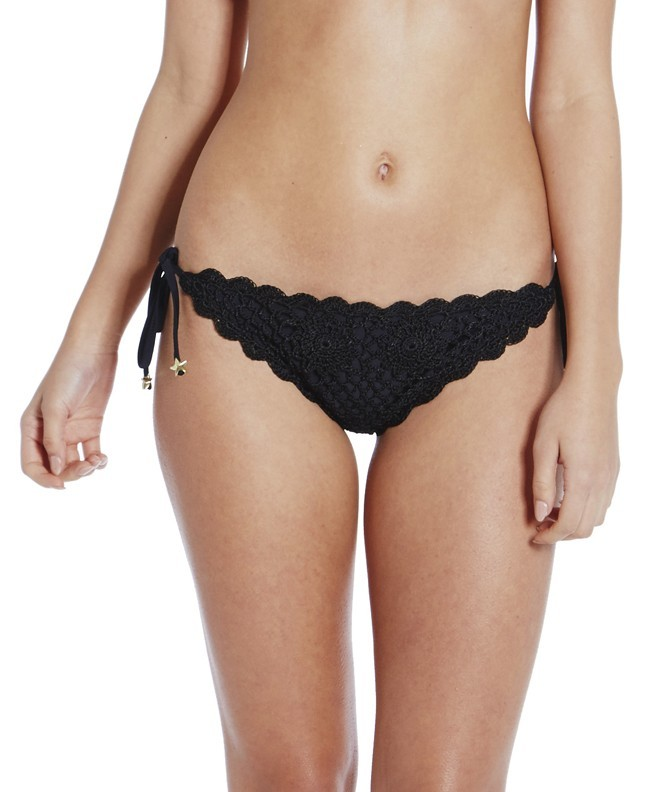 Polly Black Crochet Tie Side Brief
