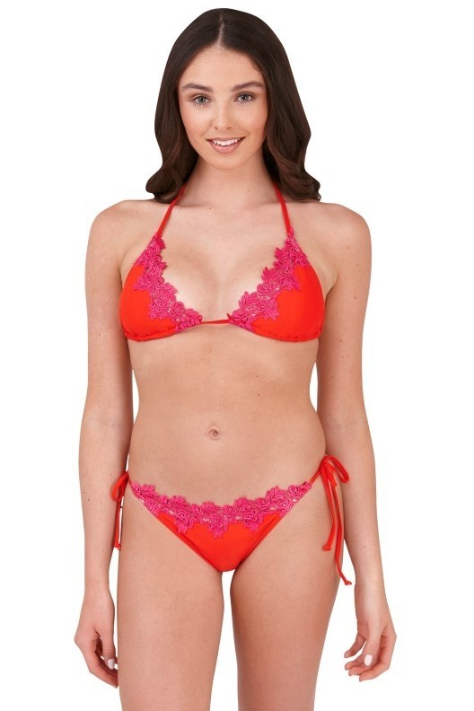 Eva Red & Pink Lace Triangle Bikini Set