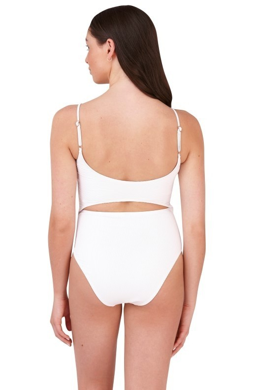 42d78fa3f8 Lucy White Ribbed Cut Out High Waisted Swimsuit   South Beach Official