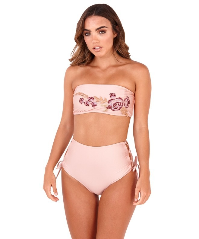 Lilly Pink Floral Applique Bandeau High Waisted Bikini Set