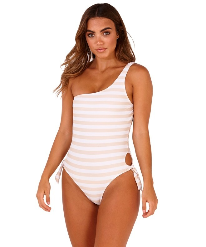 e2bbcd975 Boutique Taupe   White One Shoulder Striped High Leg Swimsuit ...
