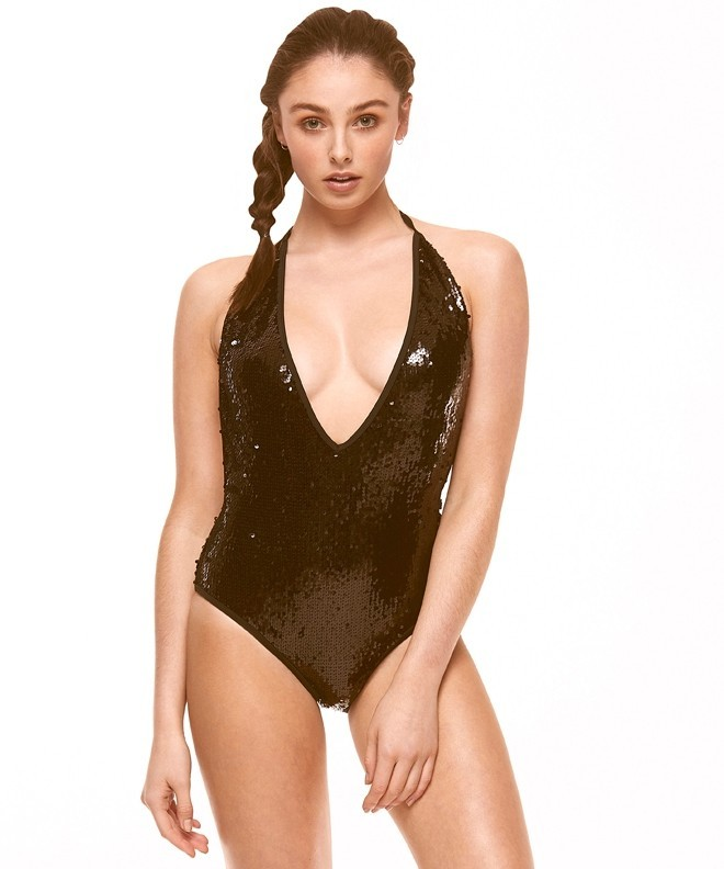 118230bc981c02 Boutique Black Sequinned Plunge Swimsuit | South Beach Official