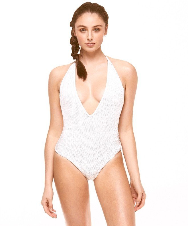Boutique White Sequinned Plunge Swimsuit