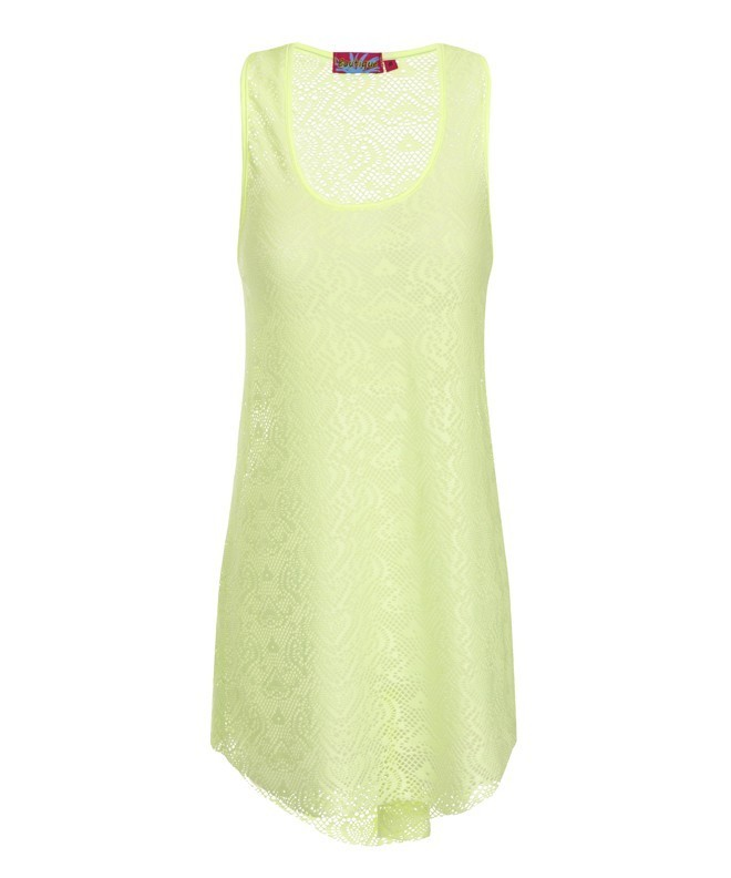 Boutique Neon Lime Crochet Vest