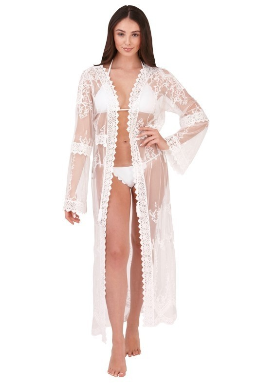 Boutique White Sheer Lace Kaftan