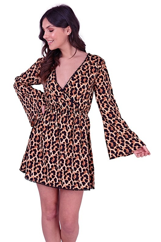 Leopard Print Wrap Beach Dress