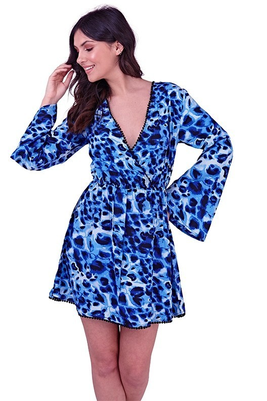 Blue Leopard Print Wrap Beach Dress