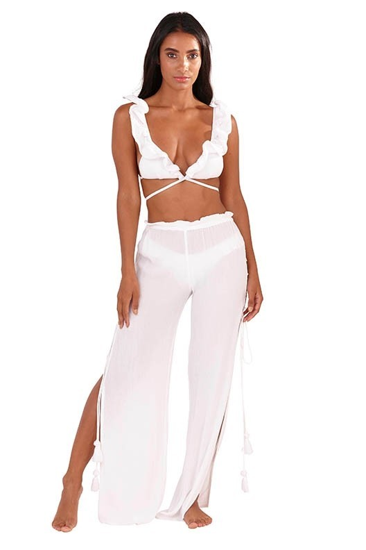 White Lace Up Beach Trousers