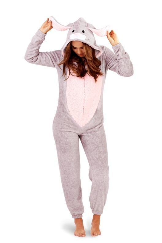 3d86cb515 Loungeable Novelty 3D Pink & Grey Rabbit Onesie | South Beach Official